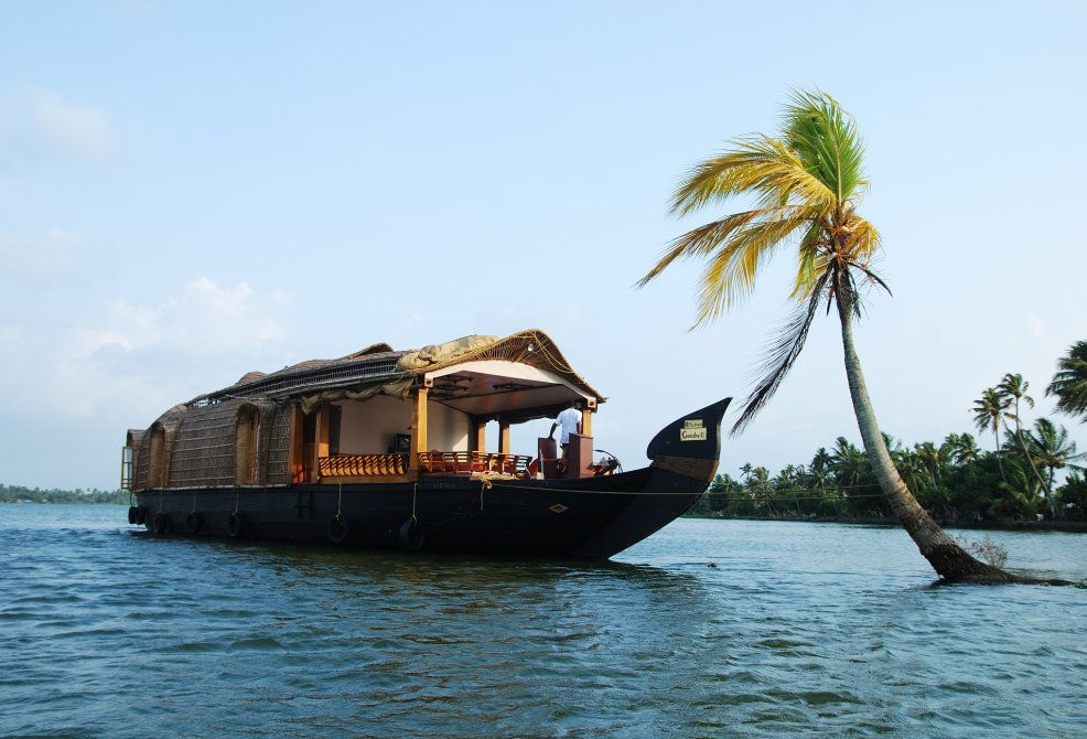 Houseboat in Alleppey Near Coconut Tree